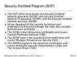 security certified program scp