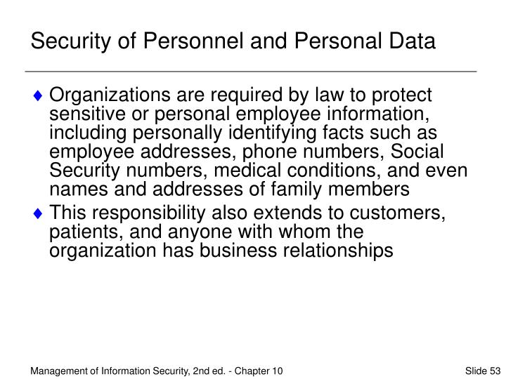 Security of Personnel and Personal Data