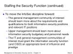 staffing the security function continued