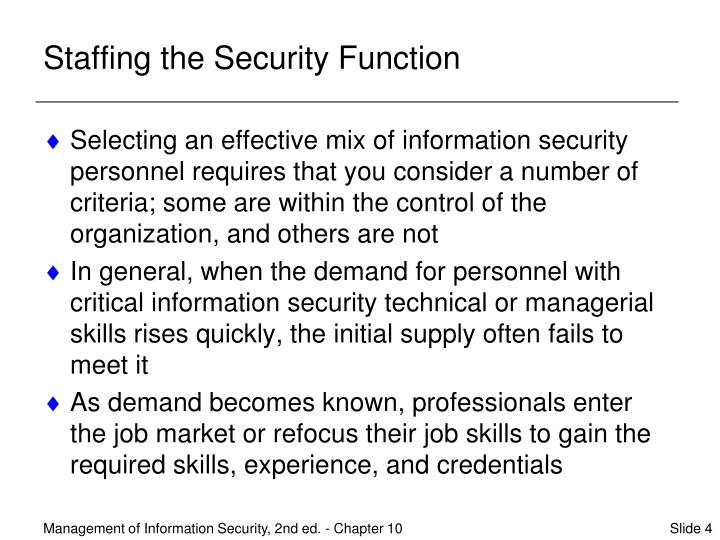 Staffing the Security Function