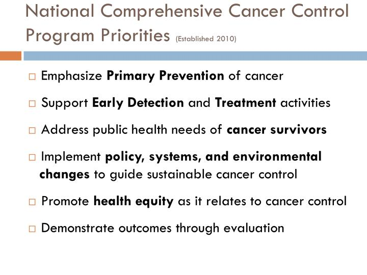 National Comprehensive Cancer Control Program Priorities