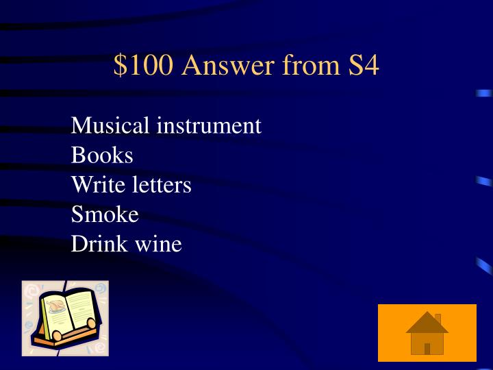 $100 Answer from S4