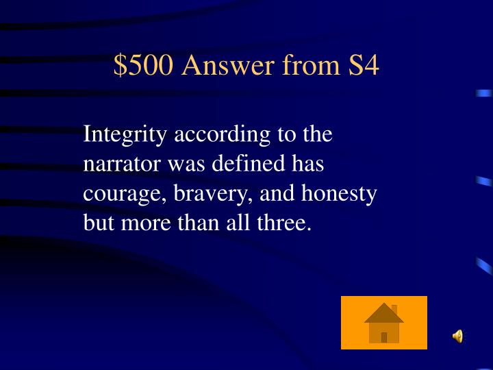 $500 Answer from S4