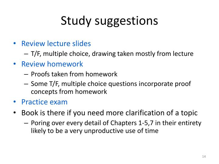 Study suggestions