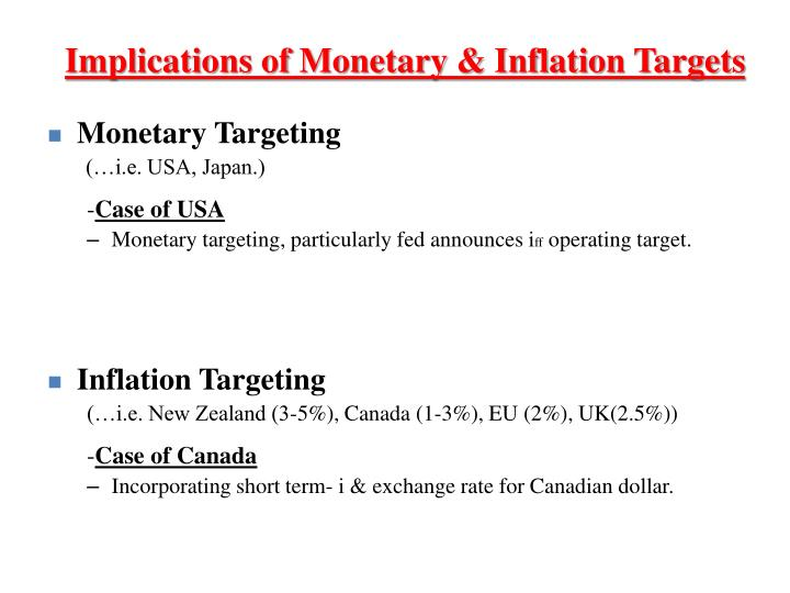 Implications of Monetary & Inflation Targets