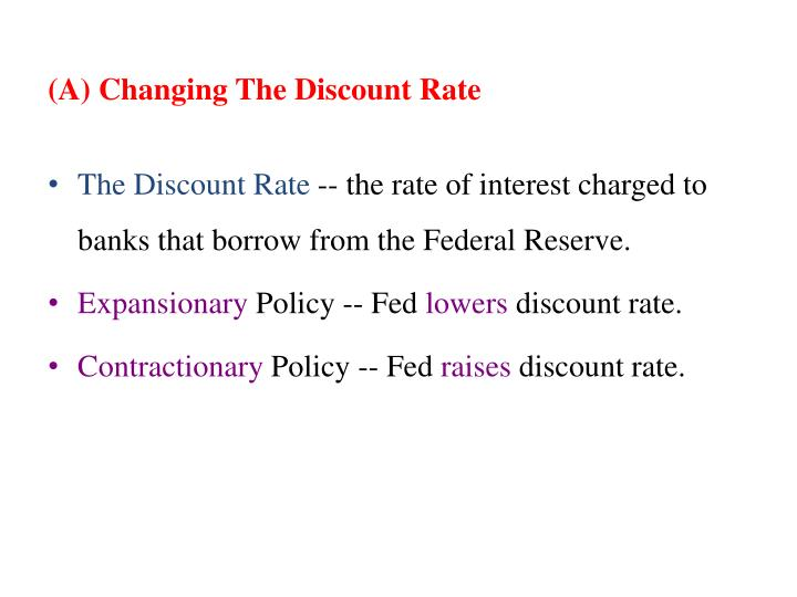 (A) Changing The Discount Rate