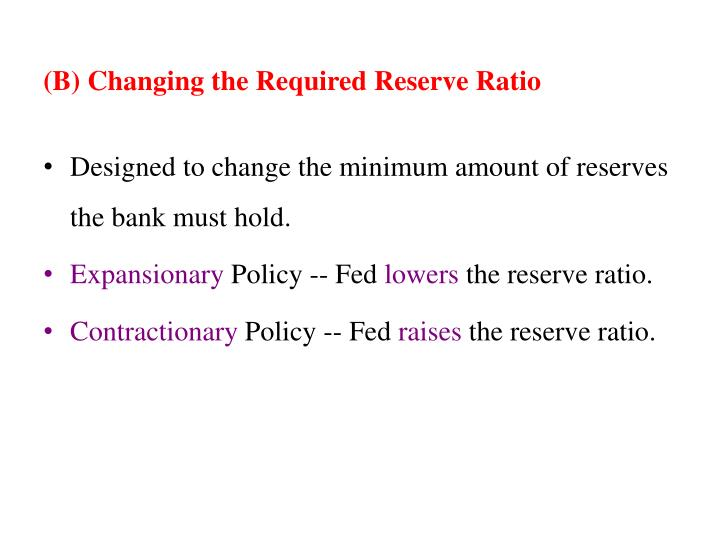 (B) Changing the Required Reserve Ratio