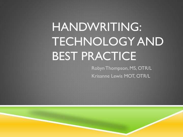 handwriting technology and best practice