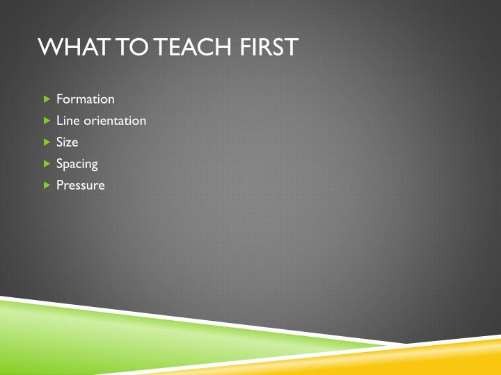 What to teach first