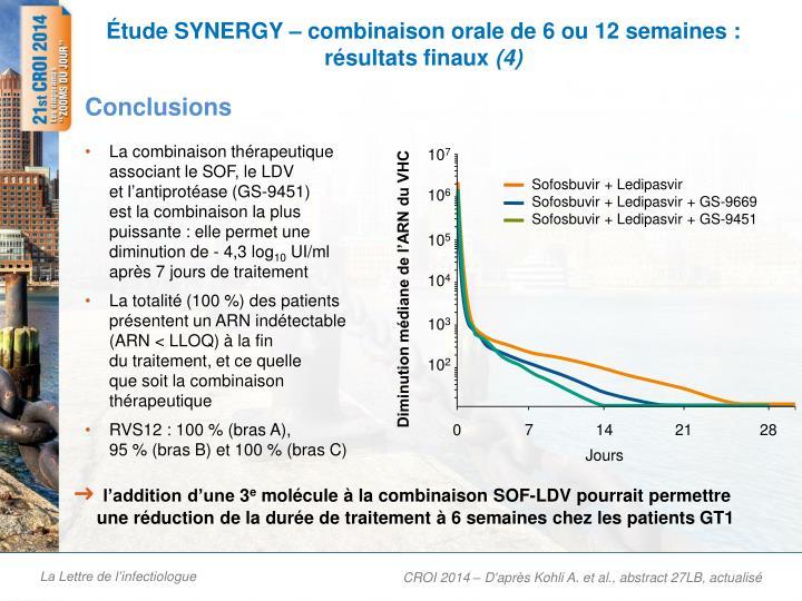 Étude SYNERGY – combinaison orale de 6 ou 12 semaines : résultats finaux