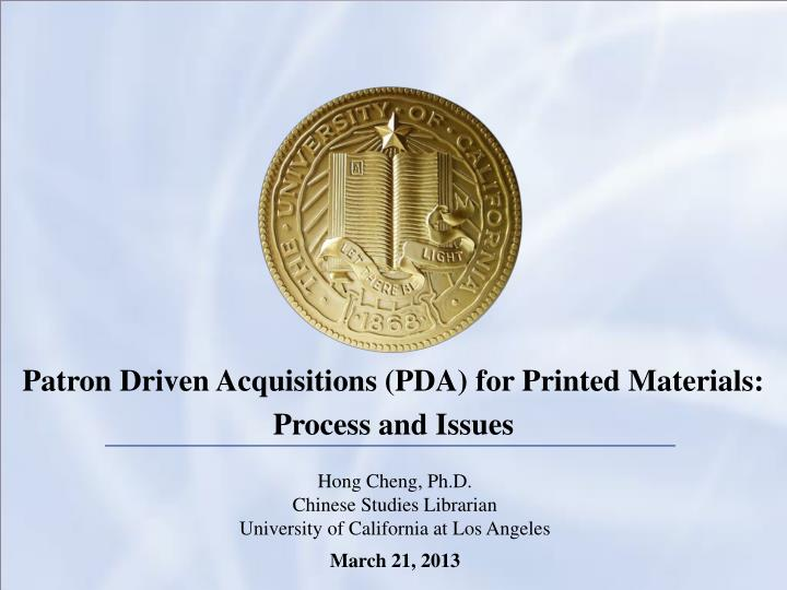Patron Driven Acquisitions (PDA) for Printed Materials: Process and Issues
