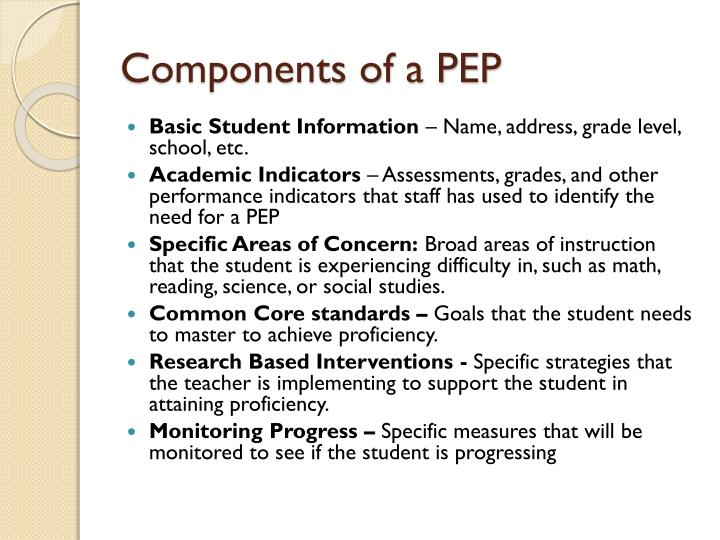 Components of a PEP