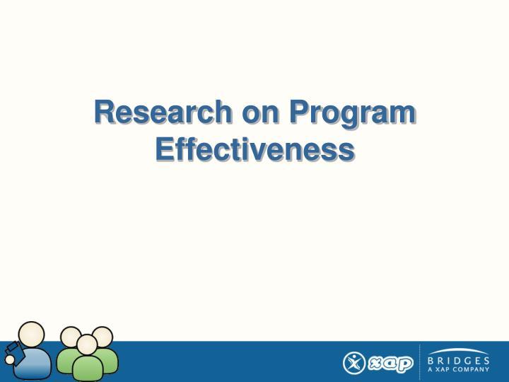 Research on Program Effectiveness