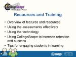 resources and training