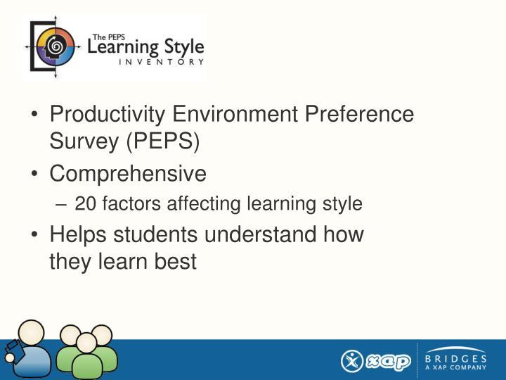 Productivity Environment Preference Survey (PEPS)