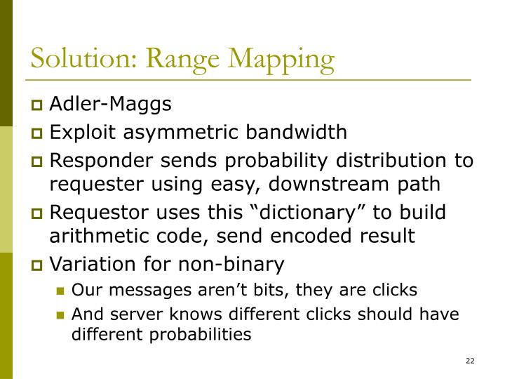 Solution: Range Mapping