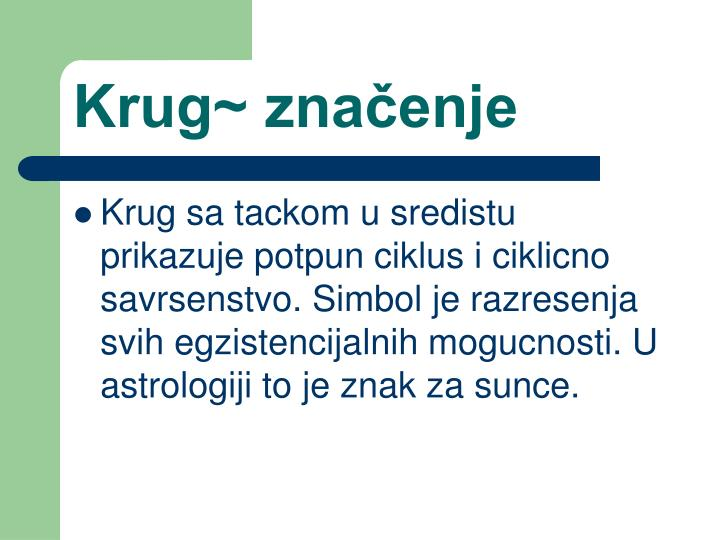 Krug~ značenje