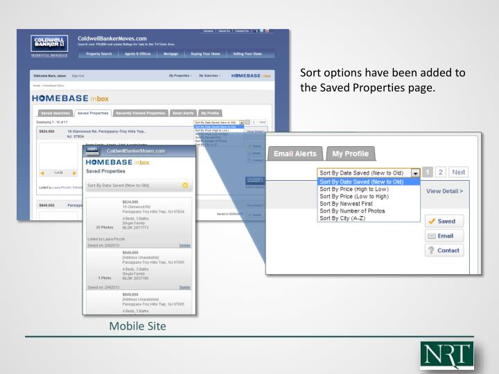 Sort options have been added to the Saved Properties page.