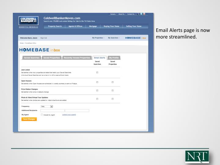 Email Alerts page is now