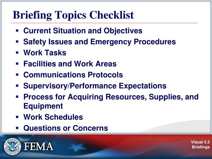 Briefing Topics Checklist