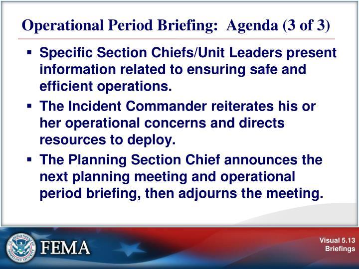 Operational Period Briefing:  Agenda (3 of 3)