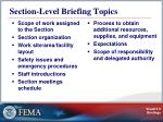 section level briefing topics