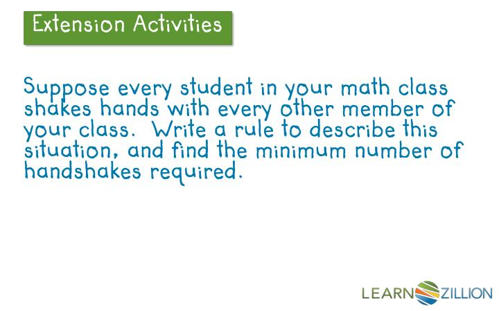 Suppose every student in your math class shakes hands with every other member of your class.  Write a rule to describe this situation, and find the minimum number of handshakes required.