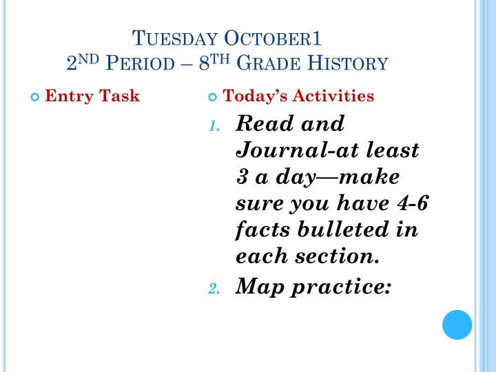 Tuesday October1