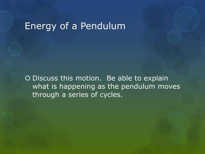 Energy of a Pendulum