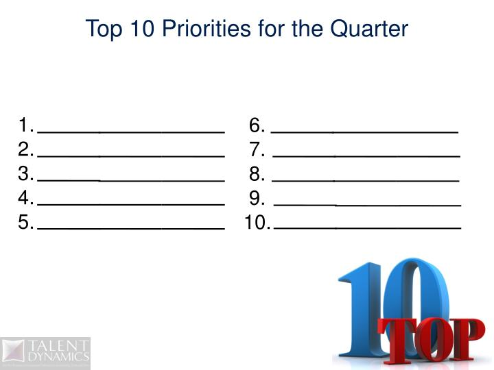 Top 10 Priorities for the Quarter