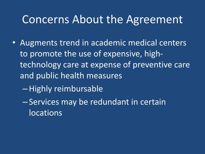 Concerns About the Agreement