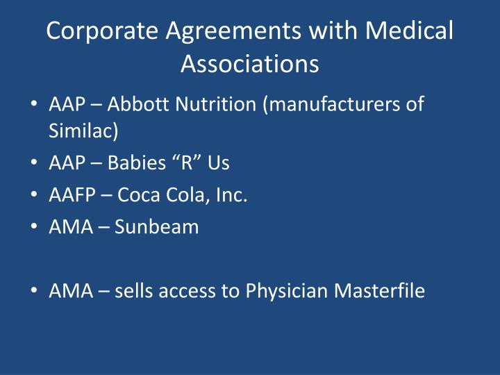 Corporate Agreements with Medical Associations