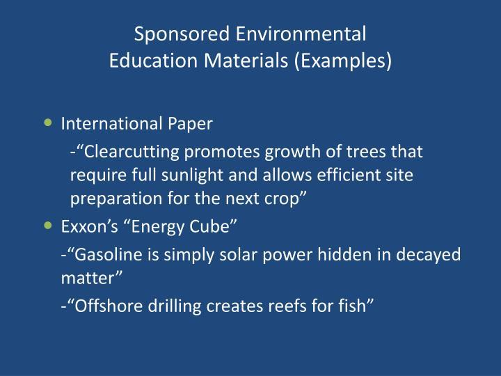 Sponsored Environmental