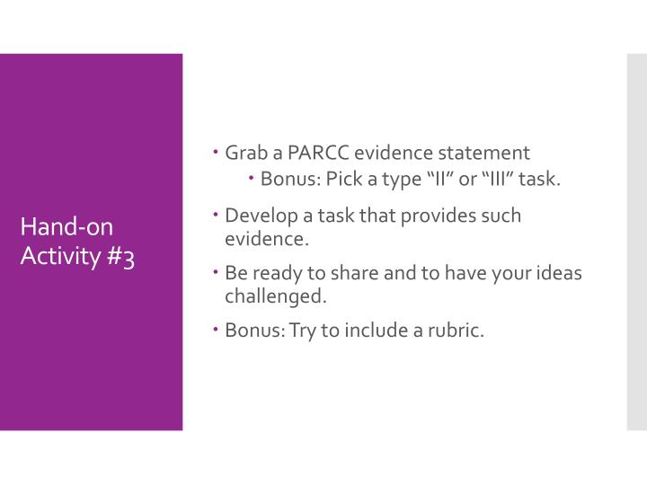 Grab a PARCC evidence statement