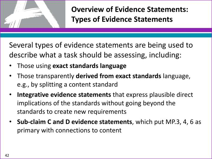Overview of Evidence Statements: