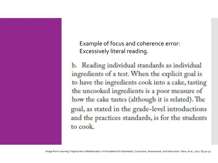 Example of focus and coherence error: Excessively literal