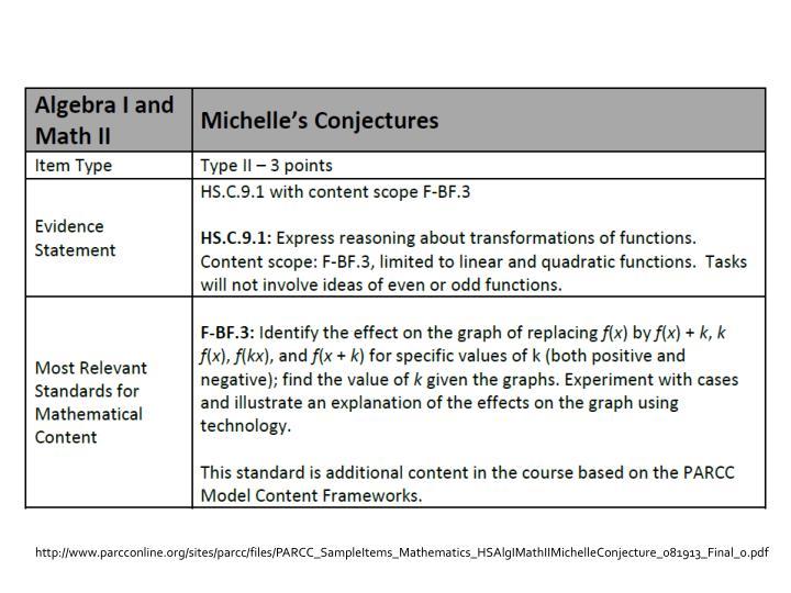 http://www.parcconline.org/sites/parcc/files/PARCC_SampleItems_Mathematics_HSAlgIMathIIMichelleConjecture_081913_Final_0.pdf