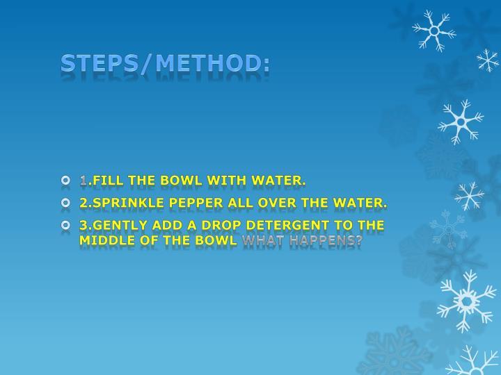 Steps/method: