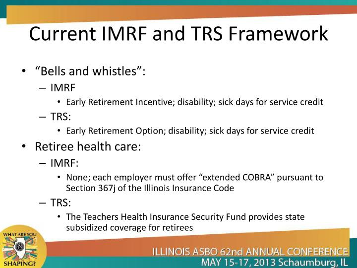 Current IMRF and TRS Framework