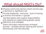 what should ngo s do