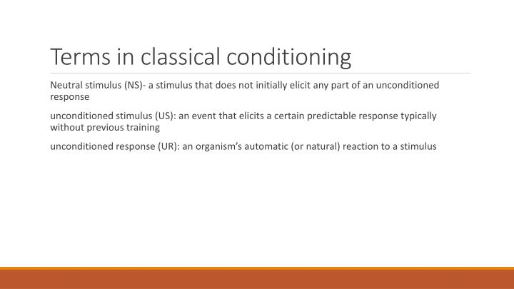 Terms in classical conditioning