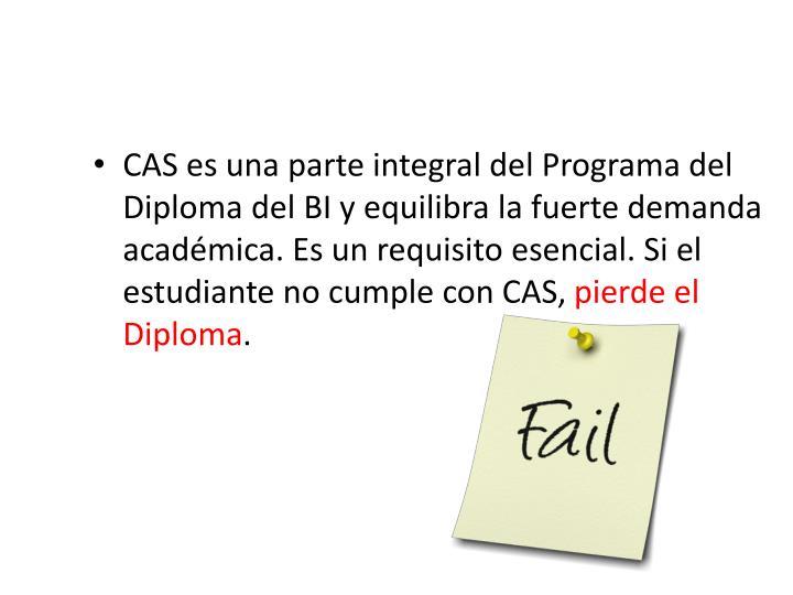 CAS es una parte integral del Programa del Diploma del BI y equilibra la fuerte demanda académica. Es un requisito esencial. Si el estudiante no cumple con CAS,
