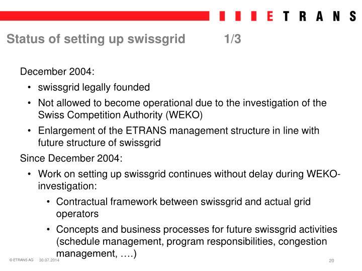 Status of setting up swissgrid1/3