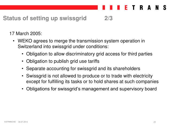 Status of setting up swissgrid2/3