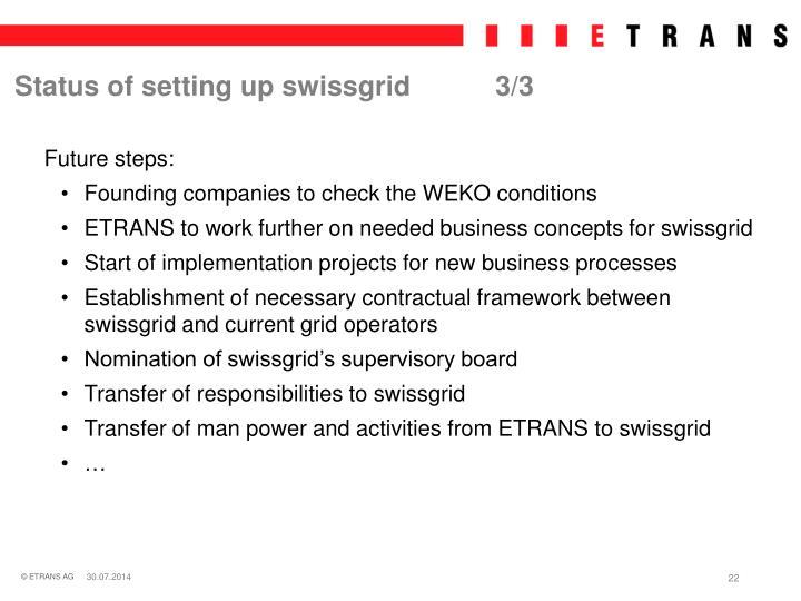 Status of setting up swissgrid3/3