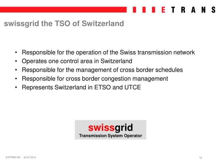 swissgrid the TSO of Switzerland