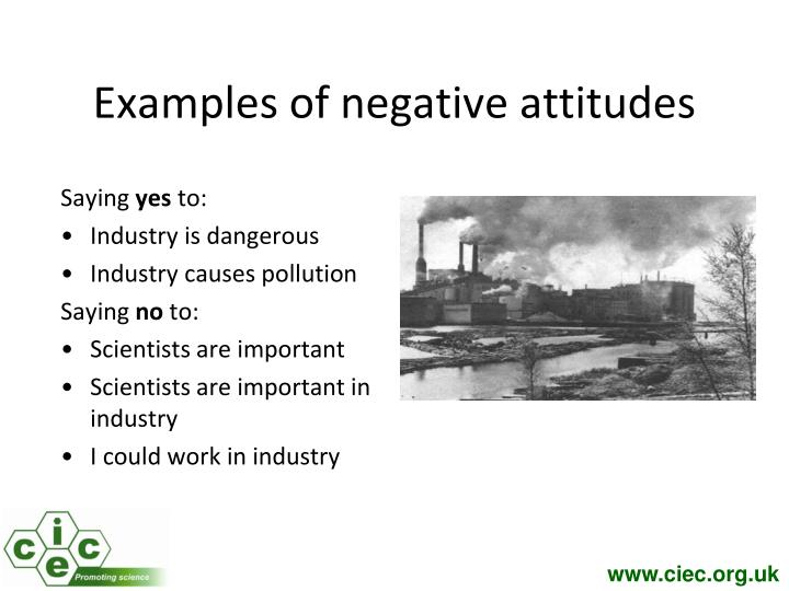 Examples of negative attitudes