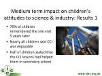 medium term impact on children s attitudes to science industry results 1