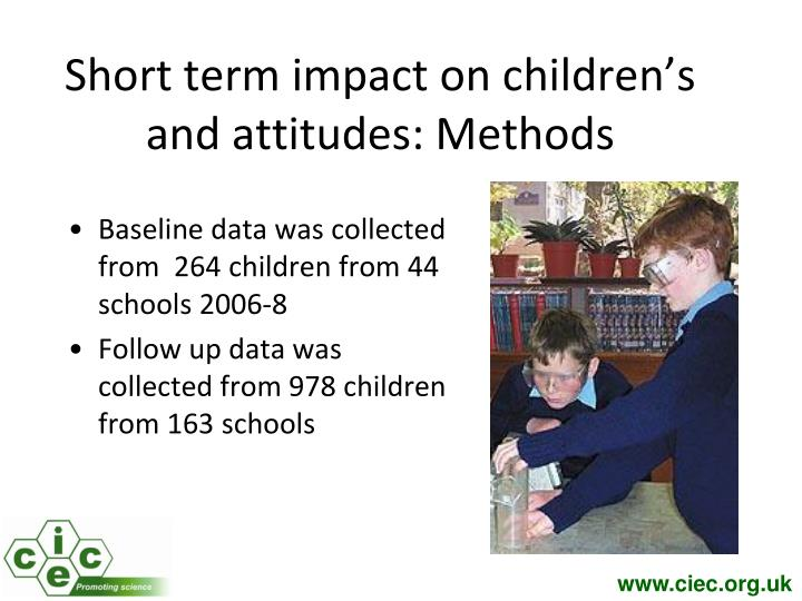 Short term impact on children's  and attitudes: Methods
