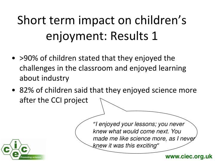 Short term impact on children's enjoyment: Results 1